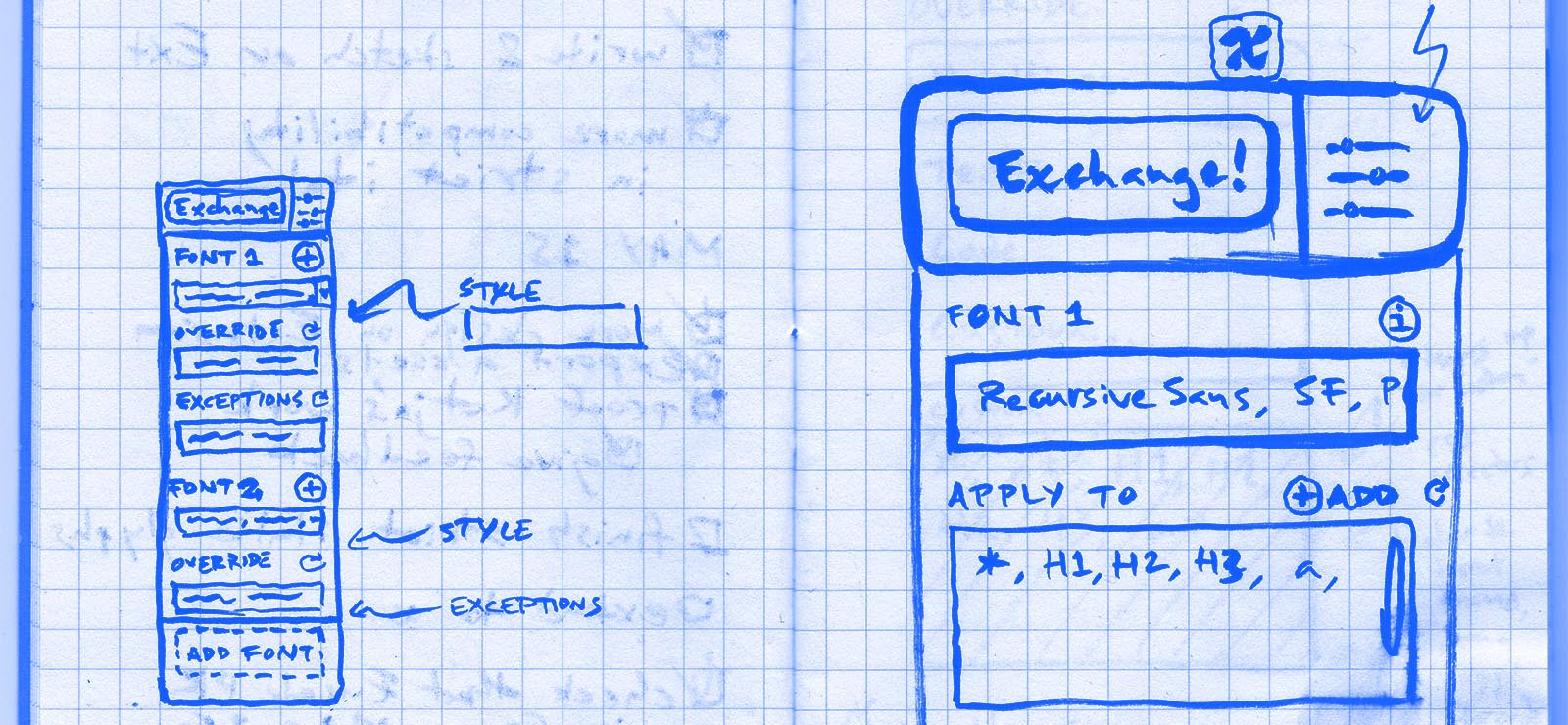 A sketch of the browser extension Type-X.